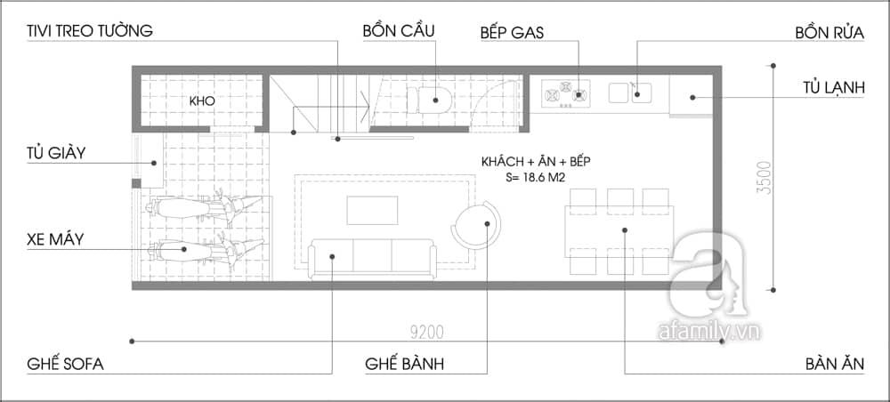 Mặt bằng tầng 1 nhà 32m2