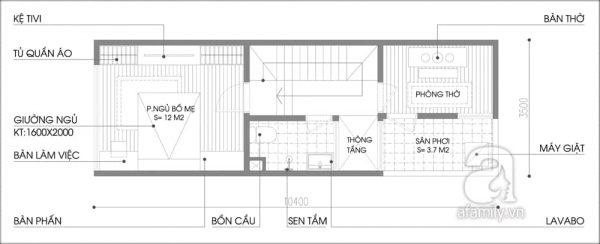 Mặt bằng tầng 3 nhà 32m2