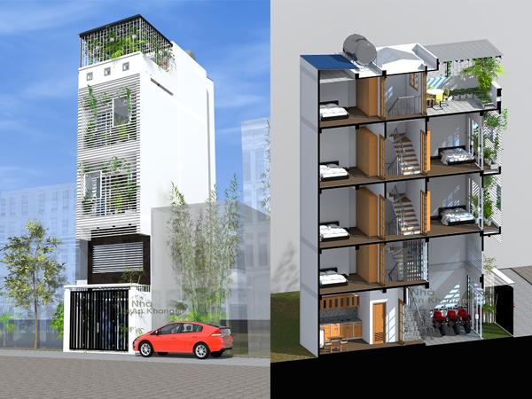 Nhà hiện đại nhiều phòng ngủ<br>CĐT: Nguyễn Kim Thanh – Phú Nhuận