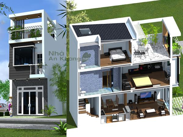 Nhà phố với sân thượng rộng đón gió trời CĐT: Trịnh Hòa Thuận – Quận 12