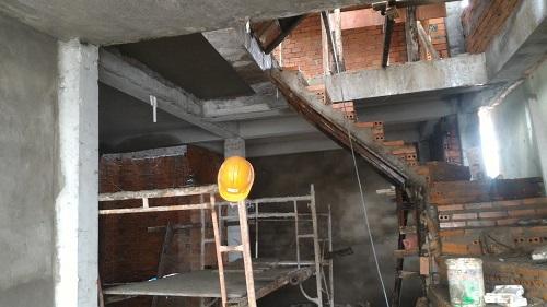tấn thành, đổ bê tông sàn mái, tô trần lầu 1