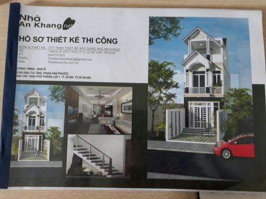 Bản vẽ thiết kế nhà phố 1 trệt 2 lầu đơn giản, tiện nghi