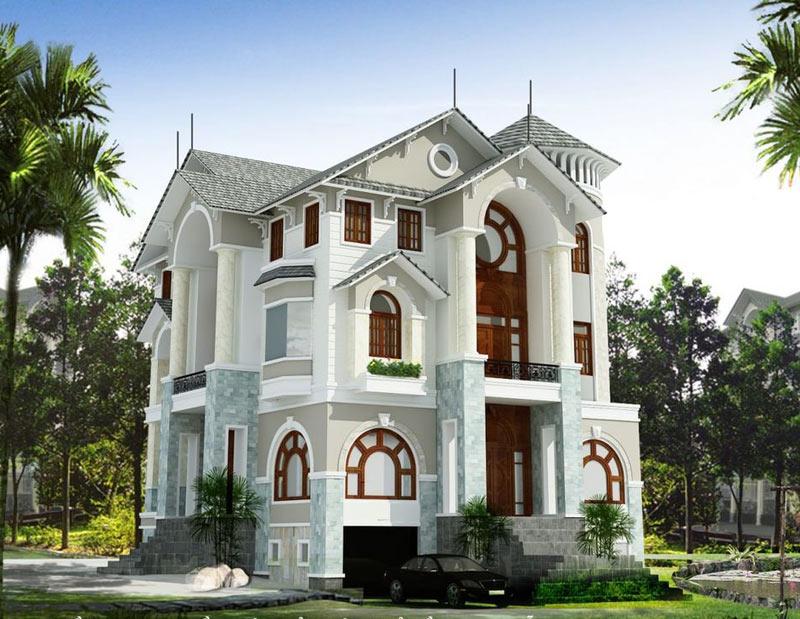 Thiết kế nhà biệt thự 2 tầng cổ điển