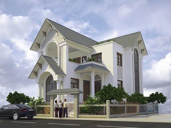 Thiết kế nhà biệt thự 2 tầng mái thái