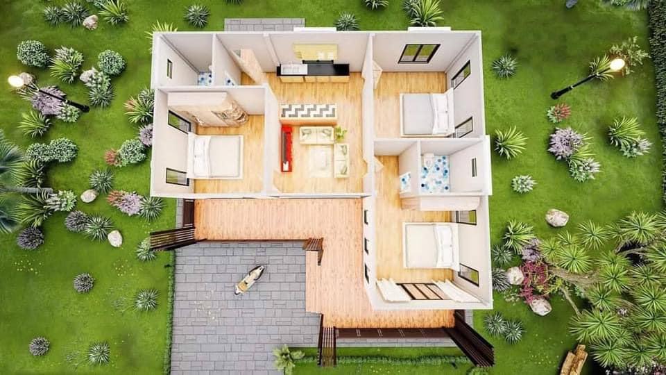 Mẫu nhà cấp 4 hiện đại 3 phòng ngủ diện tích 130m2
